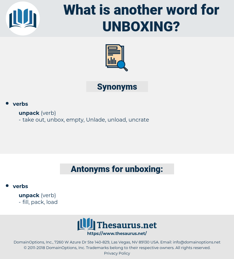 unboxing, synonym unboxing, another word for unboxing, words like unboxing, thesaurus unboxing
