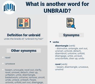 unbraid, synonym unbraid, another word for unbraid, words like unbraid, thesaurus unbraid