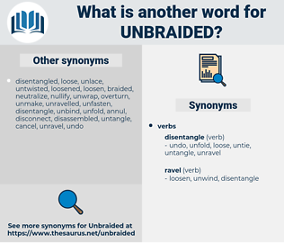 unbraided, synonym unbraided, another word for unbraided, words like unbraided, thesaurus unbraided