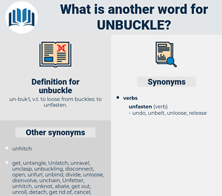 unbuckle, synonym unbuckle, another word for unbuckle, words like unbuckle, thesaurus unbuckle