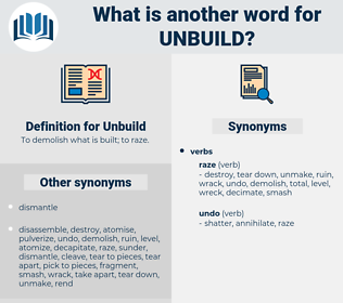 Unbuild, synonym Unbuild, another word for Unbuild, words like Unbuild, thesaurus Unbuild