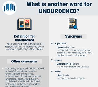 unburdened, synonym unburdened, another word for unburdened, words like unburdened, thesaurus unburdened