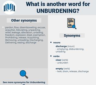 unburdening, synonym unburdening, another word for unburdening, words like unburdening, thesaurus unburdening