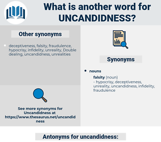 uncandidness, synonym uncandidness, another word for uncandidness, words like uncandidness, thesaurus uncandidness