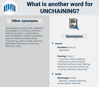 unchaining, synonym unchaining, another word for unchaining, words like unchaining, thesaurus unchaining