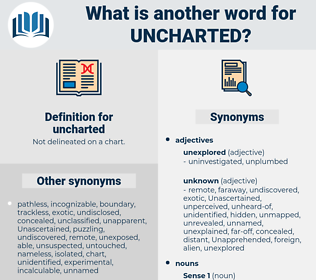 uncharted, synonym uncharted, another word for uncharted, words like uncharted, thesaurus uncharted