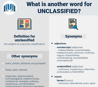 unclassified, synonym unclassified, another word for unclassified, words like unclassified, thesaurus unclassified