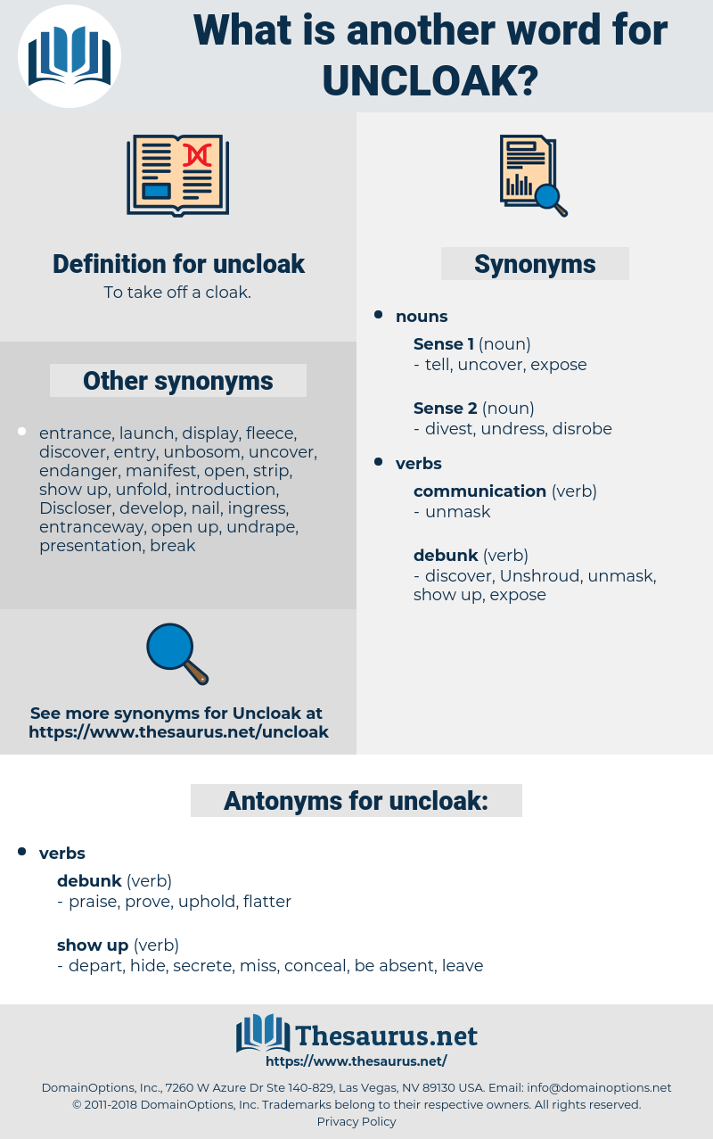 uncloak, synonym uncloak, another word for uncloak, words like uncloak, thesaurus uncloak