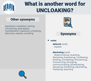 uncloaking, synonym uncloaking, another word for uncloaking, words like uncloaking, thesaurus uncloaking