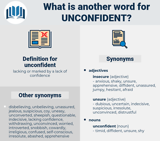 unconfident, synonym unconfident, another word for unconfident, words like unconfident, thesaurus unconfident