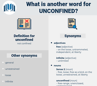 unconfined, synonym unconfined, another word for unconfined, words like unconfined, thesaurus unconfined