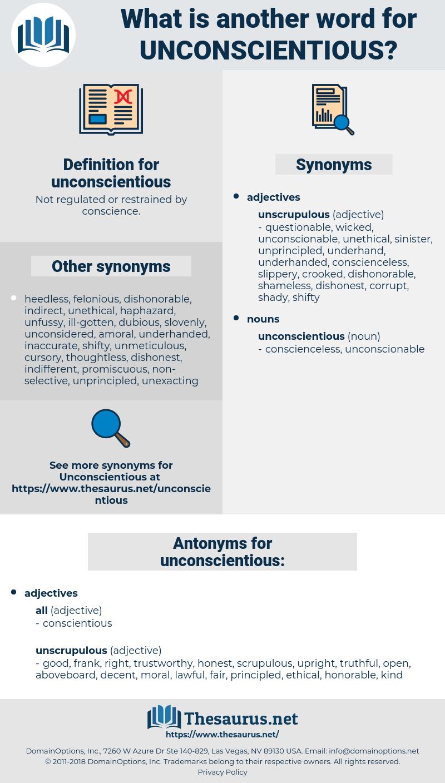 unconscientious, synonym unconscientious, another word for unconscientious, words like unconscientious, thesaurus unconscientious