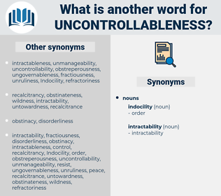 uncontrollableness, synonym uncontrollableness, another word for uncontrollableness, words like uncontrollableness, thesaurus uncontrollableness