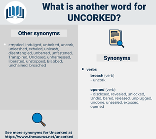 uncorked, synonym uncorked, another word for uncorked, words like uncorked, thesaurus uncorked