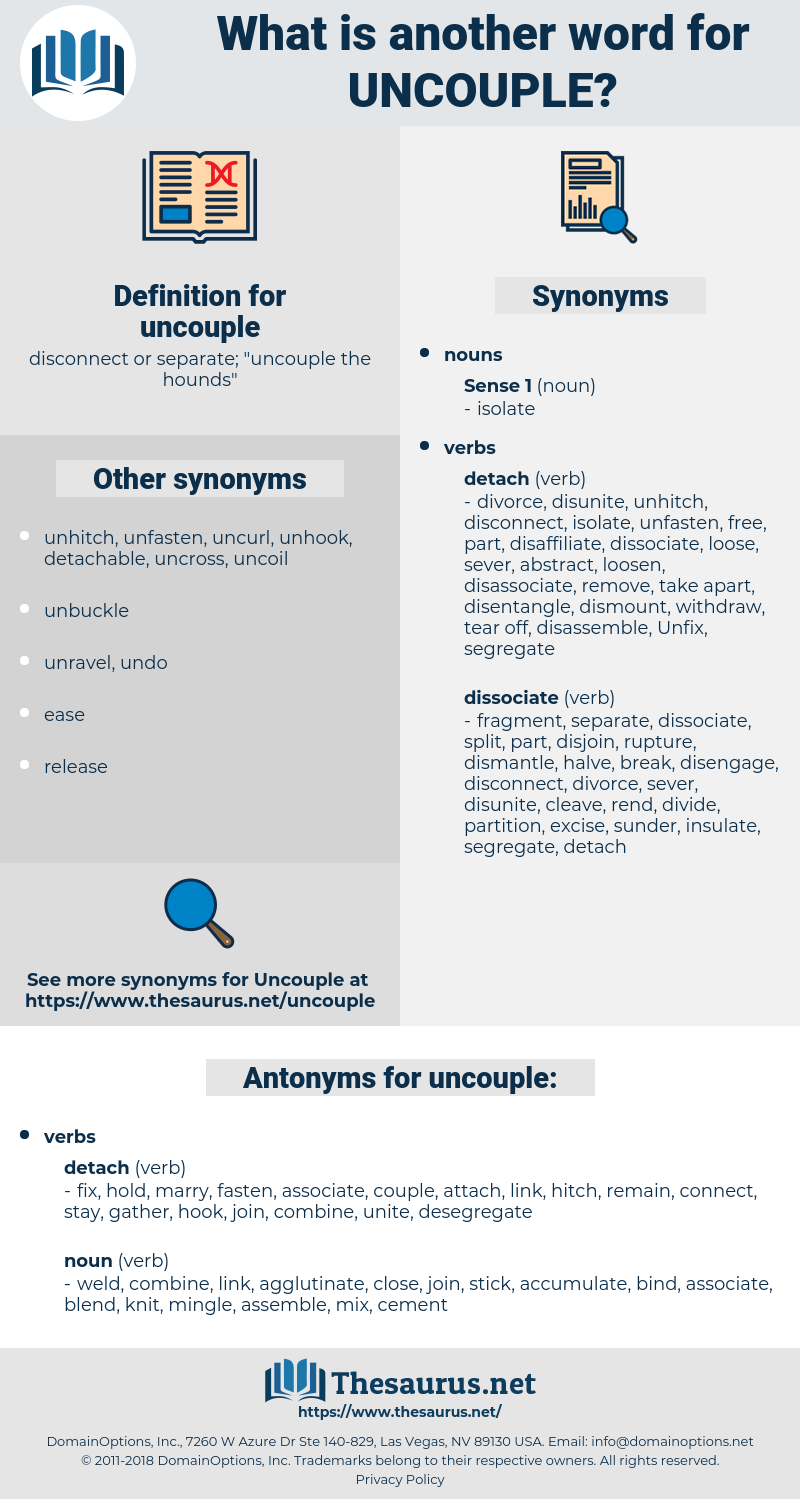 uncouple, synonym uncouple, another word for uncouple, words like uncouple, thesaurus uncouple