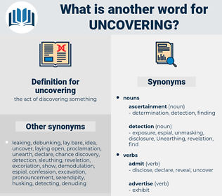 uncovering, synonym uncovering, another word for uncovering, words like uncovering, thesaurus uncovering