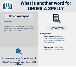 under a spell, synonym under a spell, another word for under a spell, words like under a spell, thesaurus under a spell