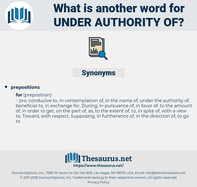 under authority of, synonym under authority of, another word for under authority of, words like under authority of, thesaurus under authority of