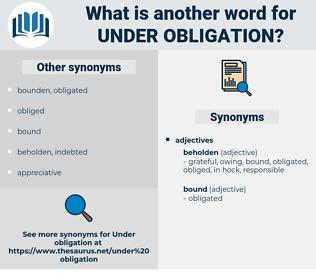 under obligation, synonym under obligation, another word for under obligation, words like under obligation, thesaurus under obligation