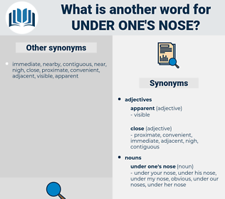 under one's nose, synonym under one's nose, another word for under one's nose, words like under one's nose, thesaurus under one's nose