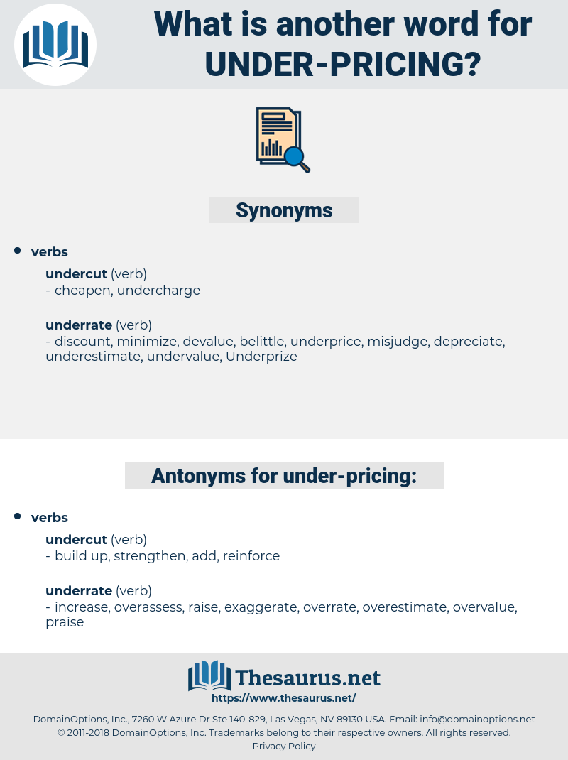 under pricing, synonym under pricing, another word for under pricing, words like under pricing, thesaurus under pricing