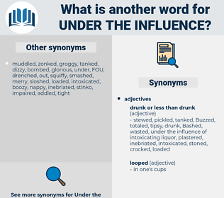 under the influence, synonym under the influence, another word for under the influence, words like under the influence, thesaurus under the influence