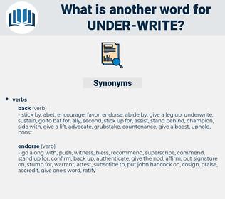 under write, synonym under write, another word for under write, words like under write, thesaurus under write