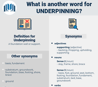 Underpinning, synonym Underpinning, another word for Underpinning, words like Underpinning, thesaurus Underpinning