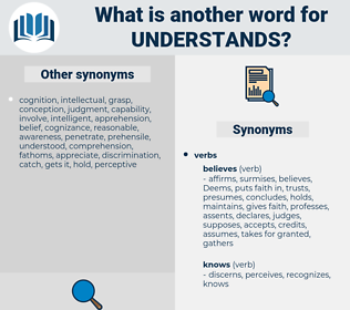 understands, synonym understands, another word for understands, words like understands, thesaurus understands