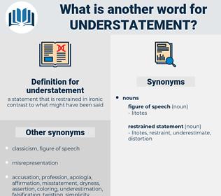 understatement, synonym understatement, another word for understatement, words like understatement, thesaurus understatement