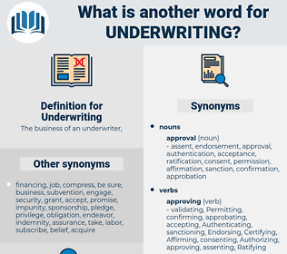 Underwriting, synonym Underwriting, another word for Underwriting, words like Underwriting, thesaurus Underwriting
