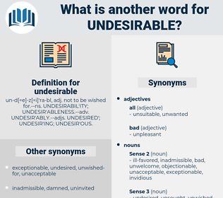 undesirable, synonym undesirable, another word for undesirable, words like undesirable, thesaurus undesirable