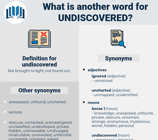 undiscovered, synonym undiscovered, another word for undiscovered, words like undiscovered, thesaurus undiscovered