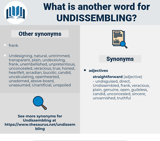 Undissembling, synonym Undissembling, another word for Undissembling, words like Undissembling, thesaurus Undissembling