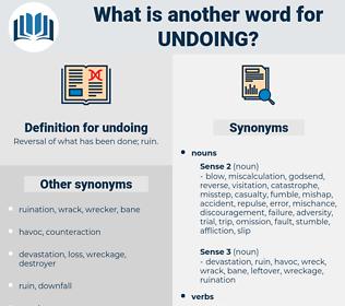 undoing, synonym undoing, another word for undoing, words like undoing, thesaurus undoing