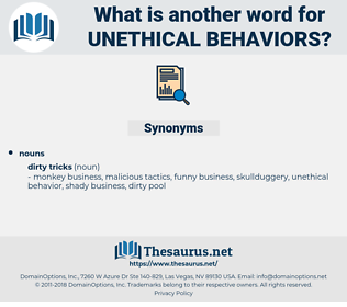 unethical behaviors, synonym unethical behaviors, another word for unethical behaviors, words like unethical behaviors, thesaurus unethical behaviors