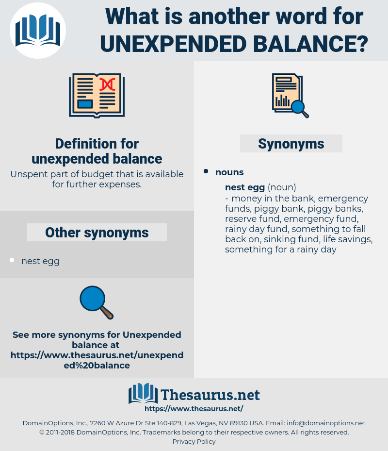 unexpended balance, synonym unexpended balance, another word for unexpended balance, words like unexpended balance, thesaurus unexpended balance