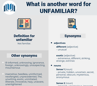 unfamiliar, synonym unfamiliar, another word for unfamiliar, words like unfamiliar, thesaurus unfamiliar
