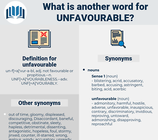 unfavourable, synonym unfavourable, another word for unfavourable, words like unfavourable, thesaurus unfavourable