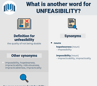 unfeasibility, synonym unfeasibility, another word for unfeasibility, words like unfeasibility, thesaurus unfeasibility