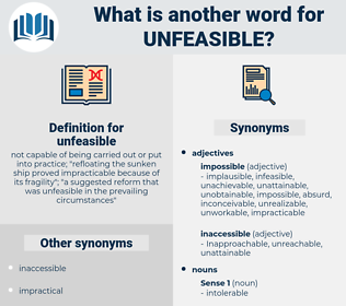 unfeasible, synonym unfeasible, another word for unfeasible, words like unfeasible, thesaurus unfeasible