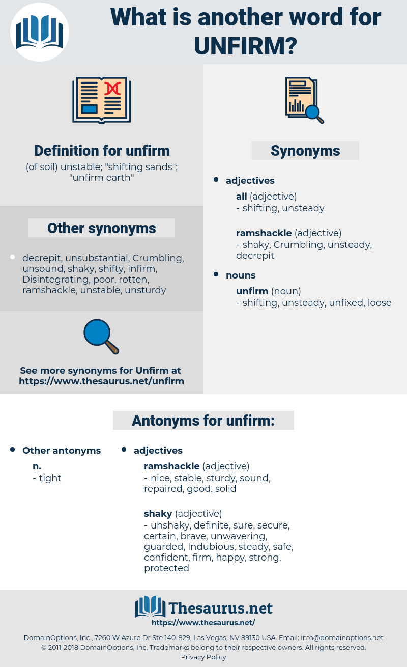 unfirm, synonym unfirm, another word for unfirm, words like unfirm, thesaurus unfirm