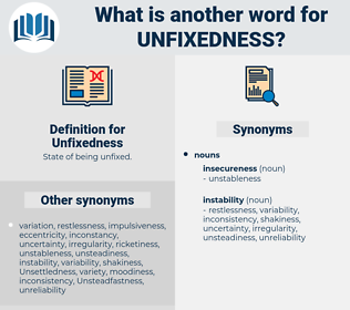 Unfixedness, synonym Unfixedness, another word for Unfixedness, words like Unfixedness, thesaurus Unfixedness
