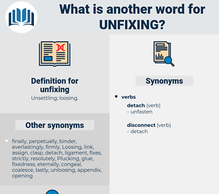 unfixing, synonym unfixing, another word for unfixing, words like unfixing, thesaurus unfixing