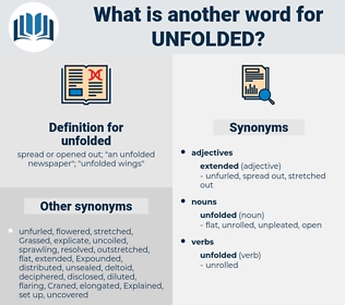 unfolded, synonym unfolded, another word for unfolded, words like unfolded, thesaurus unfolded
