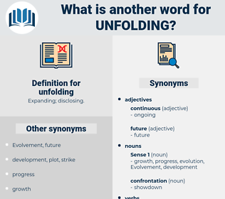 unfolding, synonym unfolding, another word for unfolding, words like unfolding, thesaurus unfolding