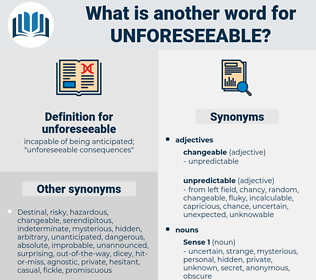 unforeseeable, synonym unforeseeable, another word for unforeseeable, words like unforeseeable, thesaurus unforeseeable