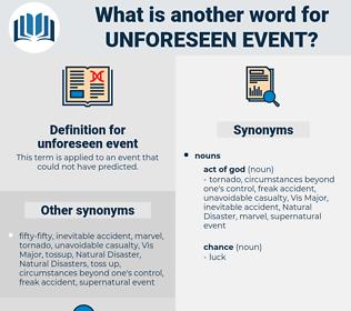 unforeseen event, synonym unforeseen event, another word for unforeseen event, words like unforeseen event, thesaurus unforeseen event