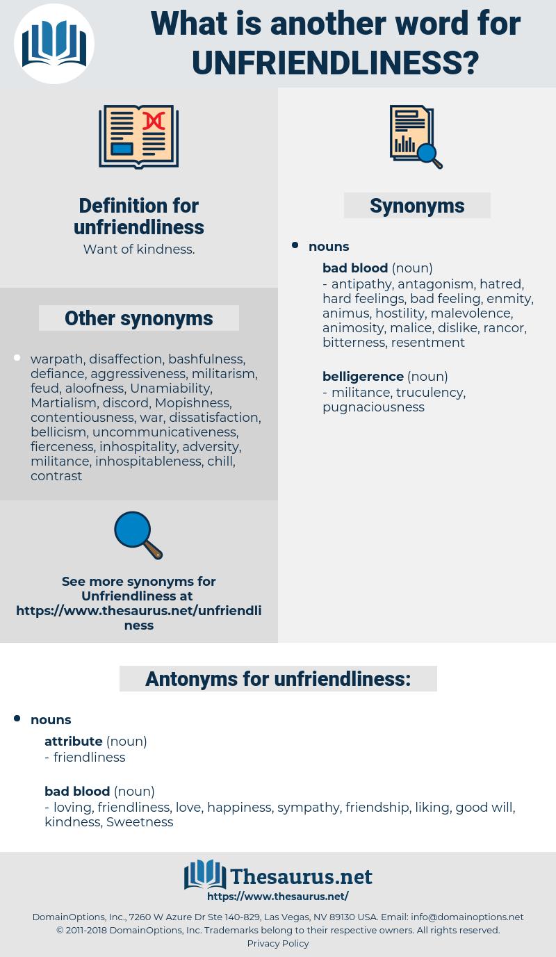 unfriendliness, synonym unfriendliness, another word for unfriendliness, words like unfriendliness, thesaurus unfriendliness