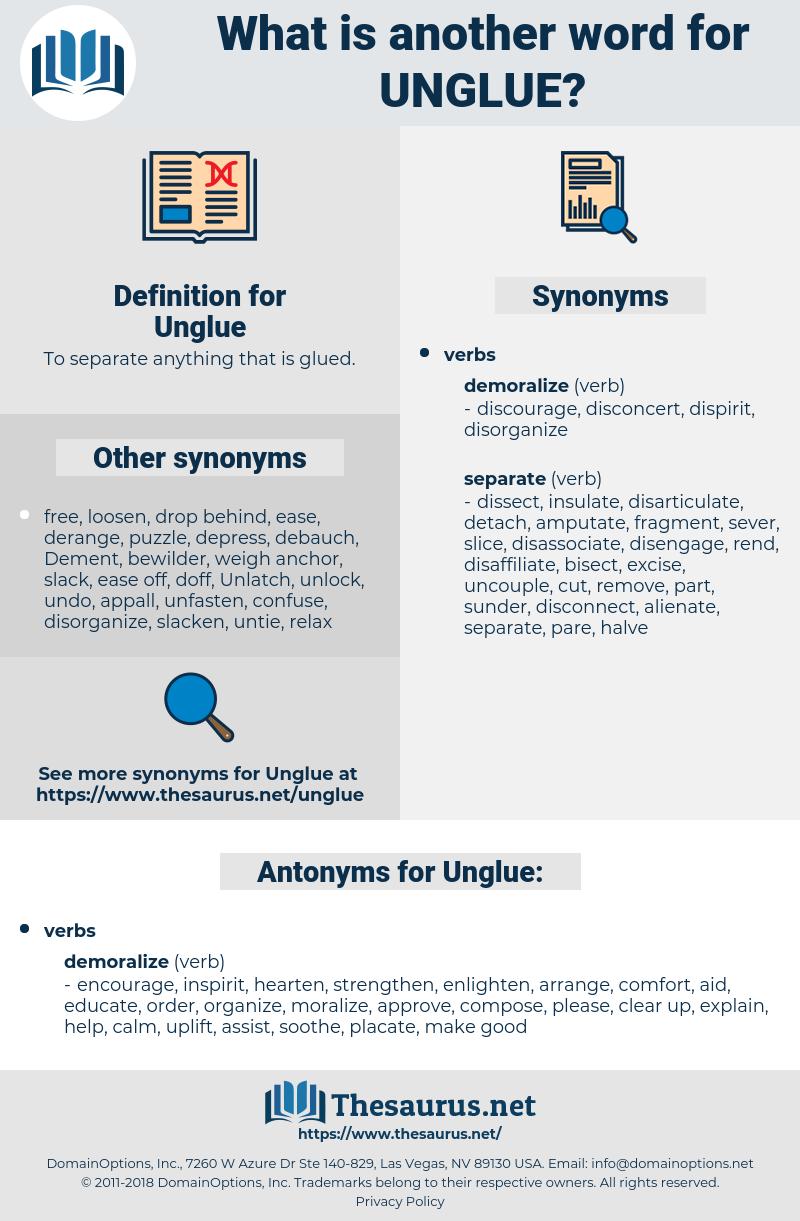 Unglue, synonym Unglue, another word for Unglue, words like Unglue, thesaurus Unglue